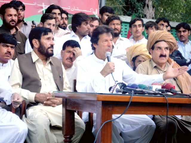 Imran Khan has vowed to march to Waziristan to show solidarity with locals. PHOTO: SANA