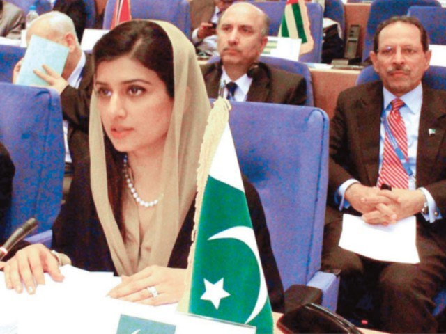 Hina Rabbani Khar taking part in the ministerial meeting's interactive debate. PHOTO: APP