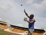Dominican athlete Alfonso Olivero takes part in a shot put training session at Olimpic Stadium Felix Sanchez in Santo Domingo, in preparation for the London 2012 Paralympic Games August 22, 2012. PHOTO: REUTERS