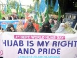 Jamaat-e-Islami Pakistan (JI) women wing organised a rally in Islamabad to celebrate World Hijab Day on Tuesday. PHOTO: ZAFAR  ASLAM/ EXPRESS
