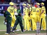 The Australian team celebrate the wicket of Pakistan's Imran Nazir (C). PHOTO: REUTERS