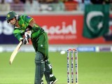 Pakistani captain Mohammad Hafeez plays a shot. PHOTO: AFP