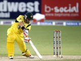 Australia's Shane Watson plays a shot during their second Twenty20 international cricket match against Pakistan in Dubai September 7, 2012. PHOTO: REUTERS