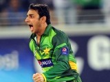 Saeed Ajmal celebrates after the dismissal of Australian batsman Shane Watson. PHOTO: AFP