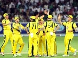 Australian cricketers celebrate after the dismissal of Pakistani batsman Imran Nazir. PHOTO: AFP