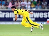Australian bowler Mitchell Starc bowls during the second Twenty20 international cricket match. POHTO: AFP