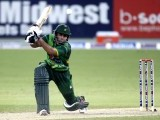 Nasir Jamshed plays a shot during their second Twenty20 international cricket match against Australia in Dubai September 7, 2012. PHOTO: REUTERS