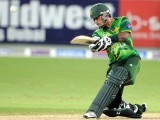 Mohammad Hafeez hits a shot during the second Twenty20 international cricket match. PHOTO: AFP