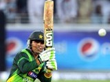 Kamran Akmal plays a shot during the second Twenty20 international cricket match. PHOTO: AFP