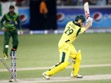 David Hussey is bowled during the second Twenty20 international cricket match against Pakistan in Dubai September 7, 2012. PHOTO: REUTERS