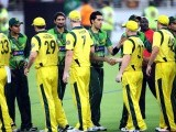 Pakistani and Australian cricketers shake hands with each other at the end of the second Twenty20 international cricket match. PHOTO: AFP