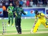 Australian batsman Matthew Wade is run out during the second Twenty20 international cricket match betwen Australia and Pakistan. PHOTO: AFP