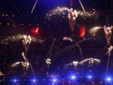 Performers are hoisted in the air in the Olympic Stadium during the closing ceremony of the London 2012 Paralympic Games September 9, 2012. PHOTO: REUTERS/Suzanne Plunkett.