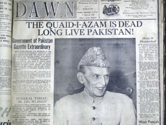 September 11, 1948. This date commemorates the demise of the leader of our nation, Muhammad Ali Jinnah who passed away just a year after Pakistan's inception. PHOTO: DAWN