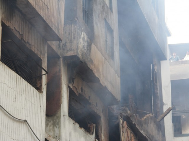 Investigation to look into the cause of fire, civil defence system available, extent of negligence on the owner's part. PHOTO: AYESHA MIR/ THE EXPRESS TRIBUNE