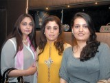Munaza, Sadia and Shazre. Lajwanti Luxury Prêt and Sonar Jewellers launch their retail store at Mall One in Lahore. PHOTO COURTESY SAVVY PR AND EVENTS
