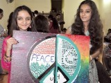 Half of the poster for peace was completed by students in Pakistan, while the other half was completed by students in India. PHOTO: COURTESY  KHALDUNIA HIGH SCHOOL