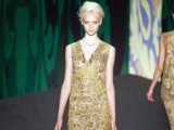 Ver Wang embdellished gold lace dress