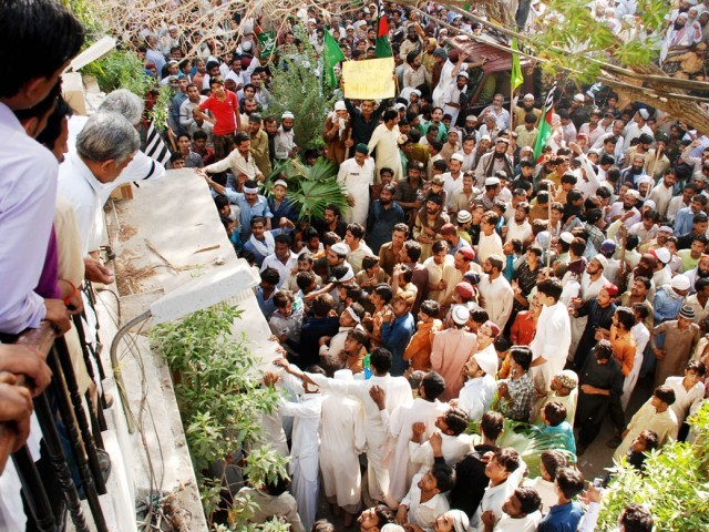 Hundreds of protesters gathered outside the Hyderabad press club on Friday. PHOTO: SHAHID ALI/ EXPRESS