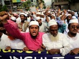 Demonstrators protesting against the blasphemous video in Dhaka, Bangladesh. PHOTO:AFP