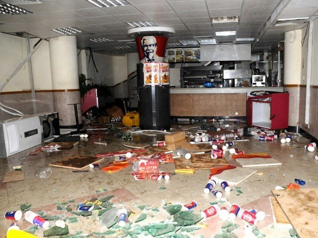 The KFC outlet near PIDC which was vandalised by protesters on Friday. PHOTO: MOHAMMAD NOMAN/EXPRESS