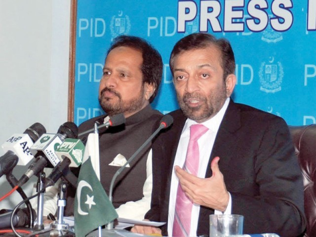 Federal Minister for Overseas Pakistanis Dr Farooq Sattar addressing a press conference. PHOTO: NNI