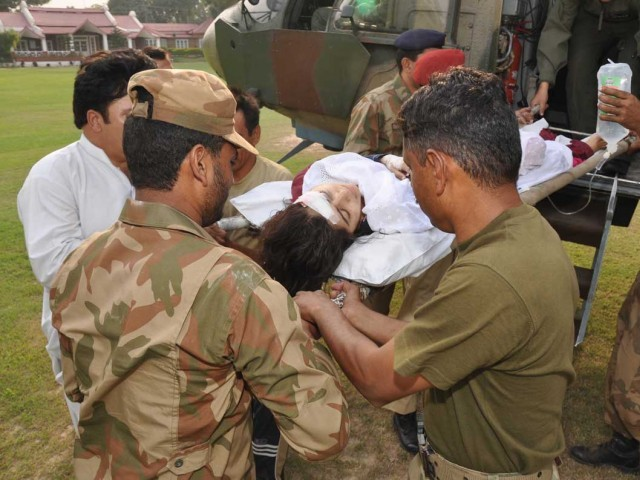 Malala Yousafzai being transferred to CMH, Peshawar. PHOTO: ISPR