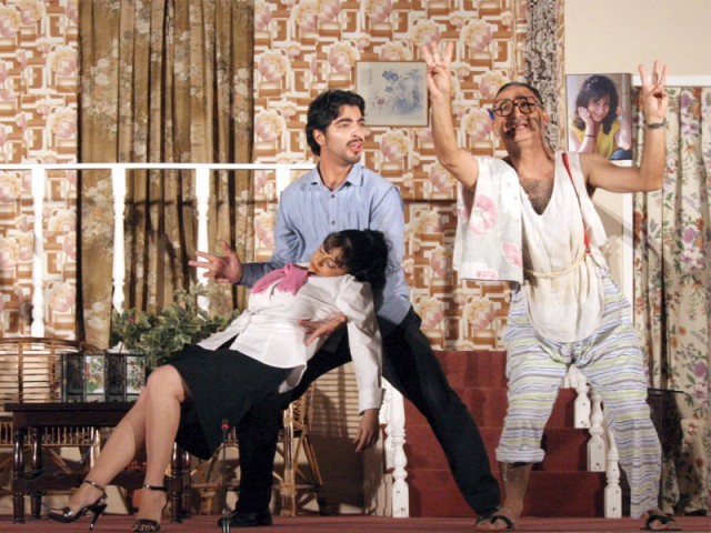 The theme of the play was reminiscent of past Zoroastrian nataks - the central character, Taimul/Timmy/Tom, is engaged to three women and does his best to hide this fact, using his servant Afla (right) and friend Goru (left) help him conceal the truth. PHOTO: ATHAR KHAN/ EXPRESS