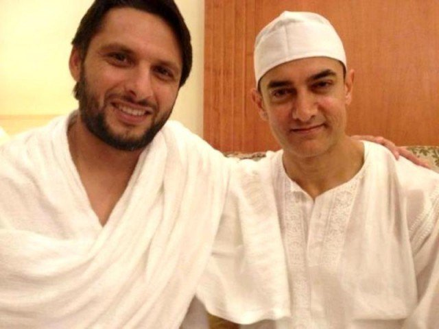 Shahid Afridi and Aamir Khan. PHOTO: TWITTER