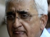 "Salman Khurshid told reporters that he saw ""great opportunities... but also great challenges to peace and prosperity in our world"".PHOTO: AFP"