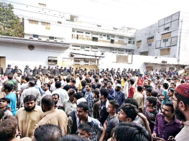 School owner, teacher arrested after day of protests. PHOTO: SHAFIQ MALIK/EXPRESS