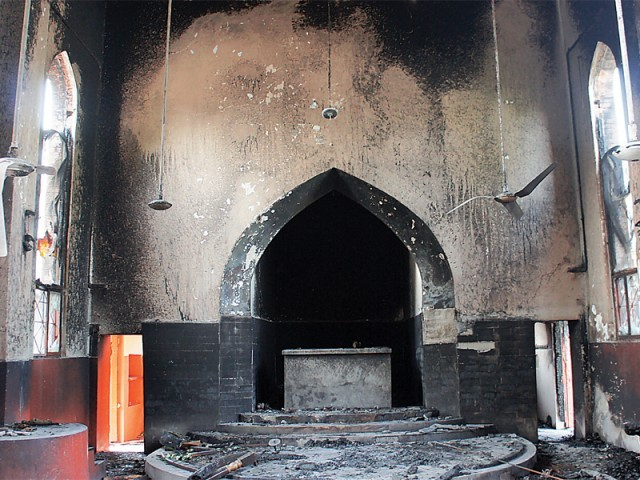 The fire left the inside of the church in shambles. PHOTO: MUHAMMAD IQBAL/EXPRESS