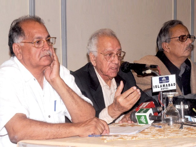 Leaders of the new party at a press conference. PHOTO: ZAFAR ASLAM/EXPRESS