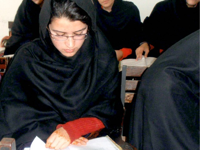 Kainat Riaz, one of the two other girls injured in the attack on Malala, has returned to school. PHOTO: EXPRESS