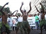 Cheerful activists in Karachi congratulate US President Barack Obama on his re-election.  PHOTO: ONLINE