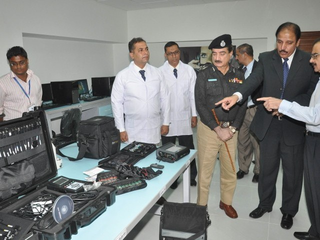 The Digital Forensics Science Laboratory at the Sindh Police forensics division obtained two devices, the CellXtract-TNT and the UFED Touch Ultimate, which will help gain information on a suspect's cell phone or computer. PHOTO: EXPRESS/MOHAMMAD AZEEM