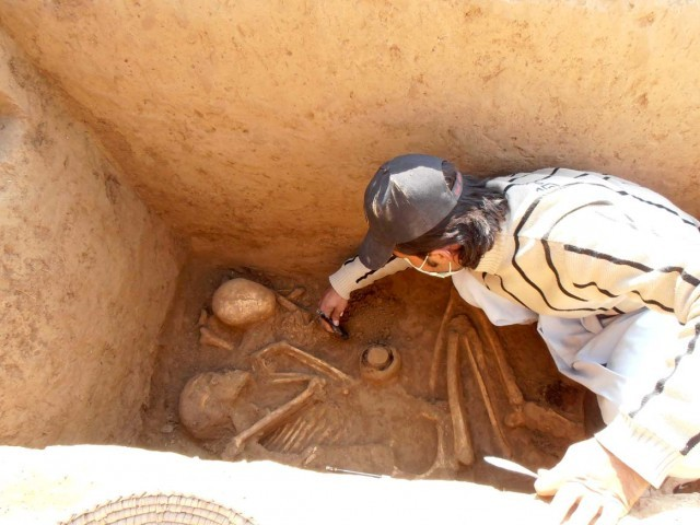 Archaeologists discovered the cemetery at Odigam, which is home to ancient graves, pottery and ornaments. PHOTO: FAZAL KHALIQ/EXPRESS