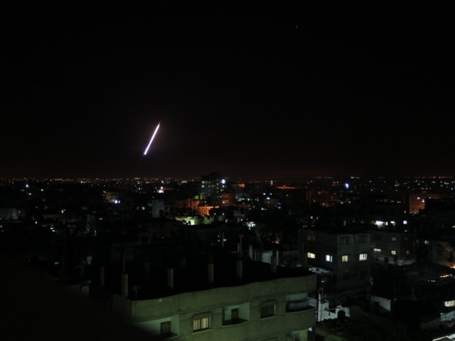 A rocket is launched from Rafah, in the southern Gaza strip towards Israel, on November 14, 2012. PHOTO: AFP