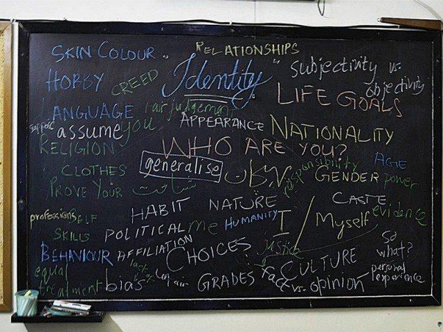 Words scribbled on the blackboard during a workshop session organised as a part of the 'Kuch Karo' project. Taboo topics and ideas for various community projects were discussed. PHOTO COURTESY: KUCH KARO
