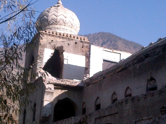 View of the defaced Shahi Masjid in Chitral. PHOTO: FILE
