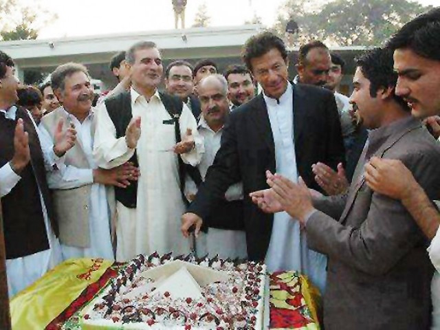 This file photo shows Imran Khan's birthday celebrations in 2010. PHOTO: @ITSTHEAZIZZ