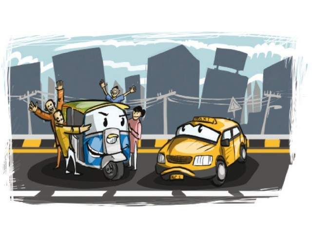 Taxi associations agree higher fares are responsible for their lessening popularity. ILLUSTRATION: JAMAL KHURSHID