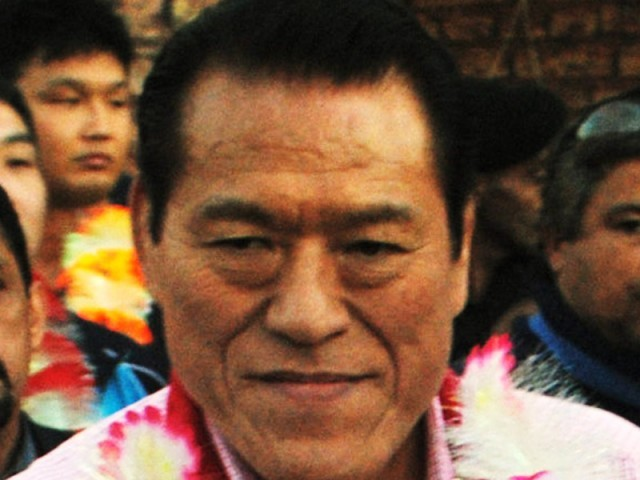 Inoki is visiting Pakistan with a group of wrestlers. PHOTO: MOHAMMAD IQBAL/EXPRESS/FILE
