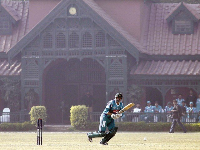 Awais Zia's aggressive innings of 30, laced with seven fours, was played at the picturesque Bagh-e-Jinnah in Lahore. PHOTO: SHAFIQ MALIK/EXPRESS