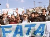 Another protest led by MNA Hameedullah against drone strikes, military operation. PHOTO: SANA