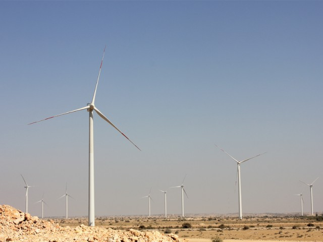 Zorlu's wind farm spread over 1,148 acres in Jhimpir. The Turkey-based company expects to add 56.4MW to the national grid by February 2013 with its 33 turbines. PHOTO: EXPRESS