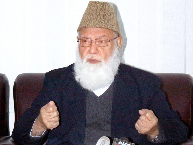 Qazi Hussain Ahmed passes away in a hospital, where he was taken following a cardiac arrest. PHOTO: SANA/FILE
