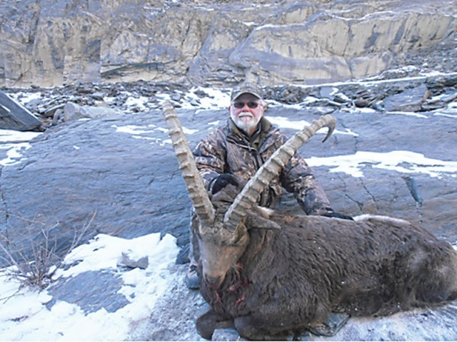 Jerry Otis Bush spent four days in Gojal Valley where he shot an ibex with 40 inch horns. PHOTO: RAHMAN POSH
