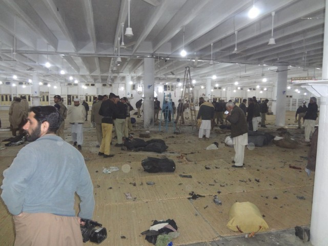 Inside the Tableeghi Markaz, the site of the blast which killed 19 people. PHOTO: FAZAL KHALIQ/EXPRESS