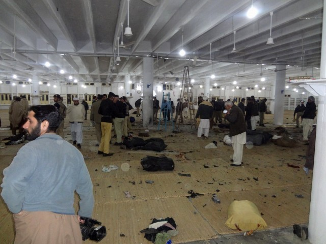 Witnesses says that people were readying for a sermon at the weekly Ijtemah (gathering) when a huge explosion shook the ground floor of the centre. PHOTO:Express/Fazal Khaliq